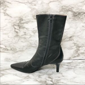 J. Crew Black Leather Pointed Toe Ankle Boots